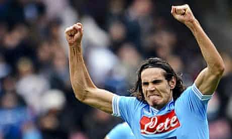 Napoli's Edinson Cavani celebrates a goal