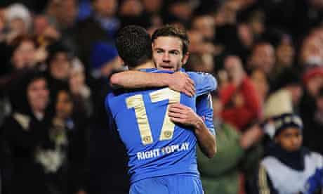 Juan Mata and Eden Hazard celebrate