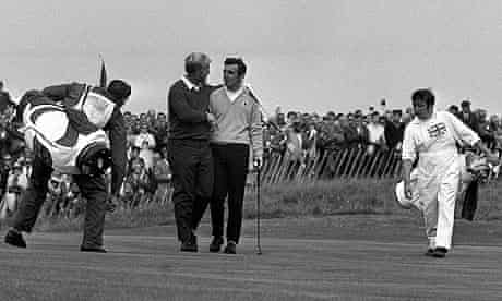 Jack Nicklaus and Tony Jacklin on the 18th green at the 1969 Ryder Cup