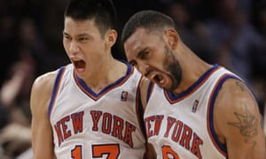 New York Knicks' Jeremy Lin and Jared Jeffries