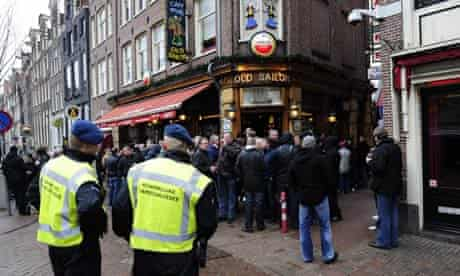 The Manchester United fans in Amsterdam