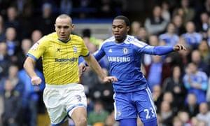 Chelsea's Daniel Sturridge (right) and Birmingham City's David Murphy (left) battle for the ball