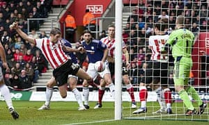Jos Hooiveld of Southampton scores the opening goal of the game against Derby County