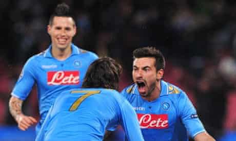 Napoli's Ezequiel Lavezzi celebrates