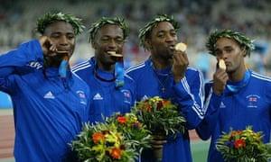 Mark Lewis-Francis, Marlon Devonish, Darren Campbell and Jason Gardener celebrate winning