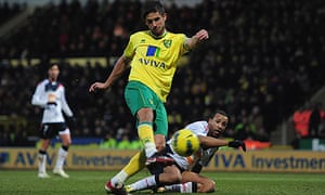 Norwich City's Andrew Surman scores against Bolton Wanderers