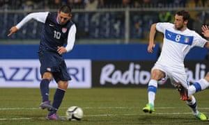 Clint Dempsey of USA scores vs. Italy