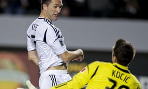 LA Galaxy forward Robbie Keane vs Toronto FC goalkeeper Milos Kocic
