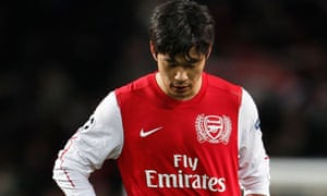Arsenal's Park Chu-young looks dejected