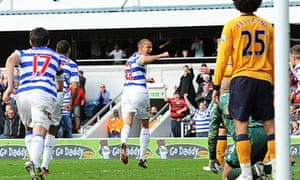 Queens Park Rangers' Bobby Zamora celebrates scoring the first goal for his side against Everton