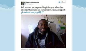 Fabrice Muamba Twitter picture