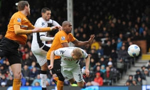 Fulham's Pavel Pogrebnyak heads home his first goal