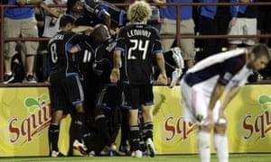 San Jose Earthquakes celebrate a goal by Simon Dawkins against Real Salt Lake