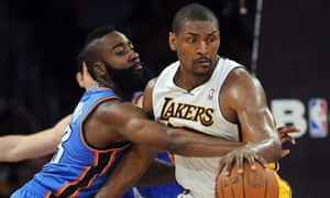 656c23aadf4 Metta World Peace of LA Lakers and James Harden of Oklahoma City Thunder