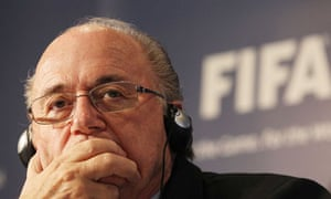 the Fifa president, Sepp Blatter, looking and thinking