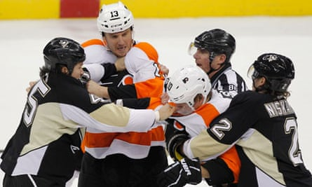 Pittsburgh Penguins fight Philadelphia Flyers