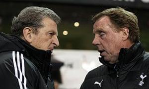 Roy Hodgson, left, and Harry Redknapp speak at White Hart Lane in January