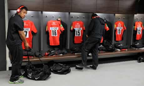 Saracens players in the Wembley dressing room
