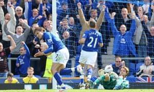 Nikica Jelavic celebrates after scoring Everton's second goal against Newcastle.