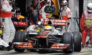 McLaren's Lewis Hamilton suffers another pit-stop problem, at the Spanish Grand Prix in Barcelona