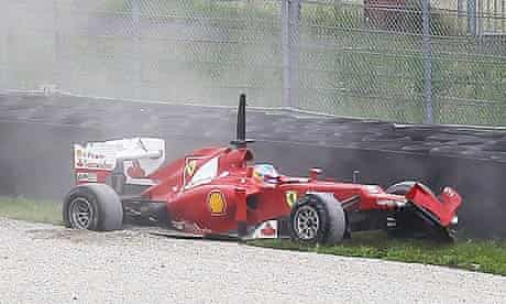 Fernando Alonso of Ferrari crashes his F2012 in testing at Mugello