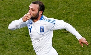Salpigidis celebrates after scoring in the World Cup