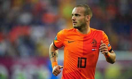 Wesley Sneijder in action against Denmark.