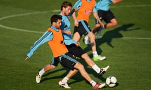 Cesc Fabregas of Spain at training