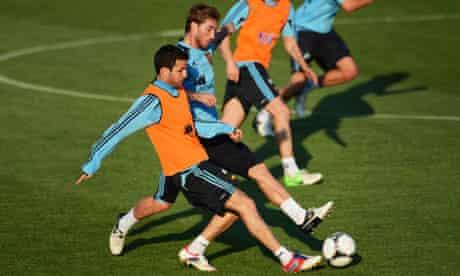 Cesc Fabregas of Spain at training