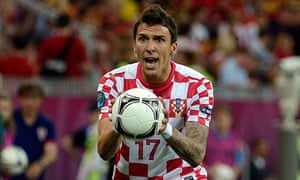 Mario Mandzukic of Croatia reacts
