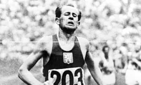 Emil Zatopek winning the Olympic Marathon at the Olympic Games in Helsinki