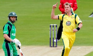 Brett Lee celebrates after bowling out Ireland's William Porterfield