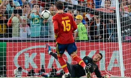 Sergio Ramos scores a penalty during the Euro 2012 semi-final