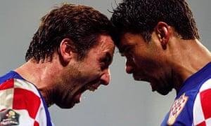 Croatia's Darijo Srna and Eduardo Da Silva
