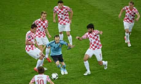 Spain's Andres Iniesta against Croatia