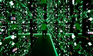 A man walks through the infinity room at the Team GB Preparation Camp in Loughborough