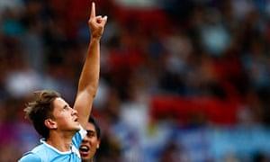 Gaston Ramirez celebrates equalising for Uruguay against UAE