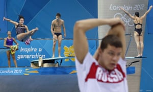 Olympic divers in action at the Aquatics Centre