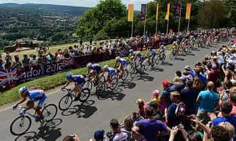 London 2012 men's cycling road race peloton climbing Box Hill