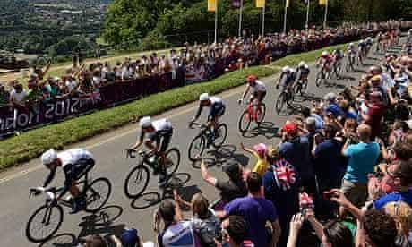 Great Britain lead the peloton over Box Hill
