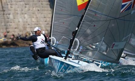 Ben Ainslie in action in the Finn class