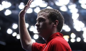 Paul Drinkhall salutes the crowd at the ExCel after his defeat to Dimitrij Ovtcharov