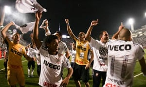 Players of Corinthians celebrate winning the Copa Libertadores