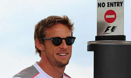 Jenson Button arriving at Silverstone