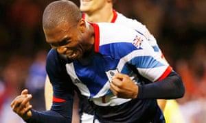 Britain's Daniel Sturridge celebrates scoring against Uruguay at the London 2012 Olympics