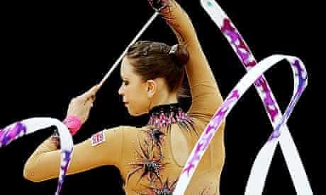Team GB's Francesca Jones at the rhythmic gymnastics