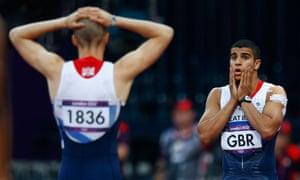 Adam Gemili reacts with Daniel Talbot