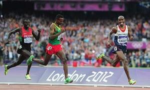 Great Britain's Mo Farah winning the 5,000m final