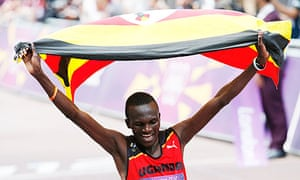 Stephen Kiprotich flies the flag for Uganda as he wins the Olympic marathon at London 2012