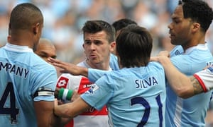 Joey Barton tangles with Manchester City players